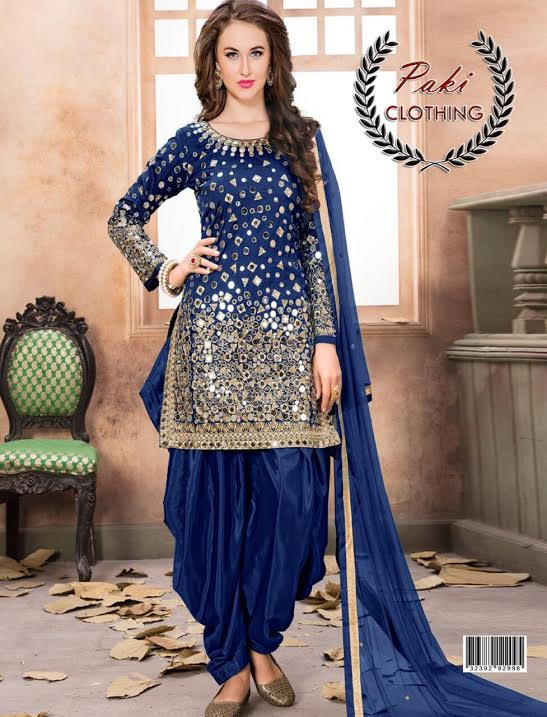 Indian Chiffon Bridal Embroidery Shesha Work Suit-Replica - Unstitched