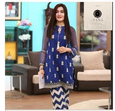 SHAISTA LODHI BLUE DESIGN (Replica) (Unstitched)