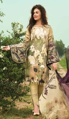 Asifa & Nabeel Lawn Dresses - Digital Print Silk Dupatta - Replica - Unstitched