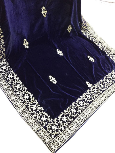 Winter VELVET SHAWLS EMBROIDERY COLLECTION Navy Blue 2k2k