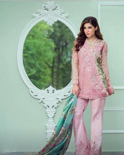 Crimson Organza Embroidered Suit