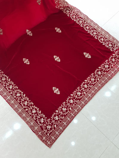 Winter VELVET SHAWLS EMBROIDERY COLLECTION Red 2k2k