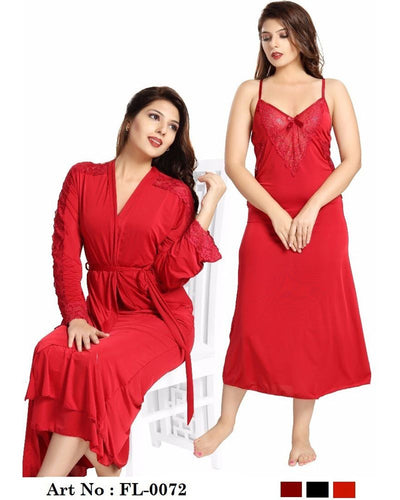 Red Wedding Nighty - FL-0072 - Flourish 2 Piece Nightwear