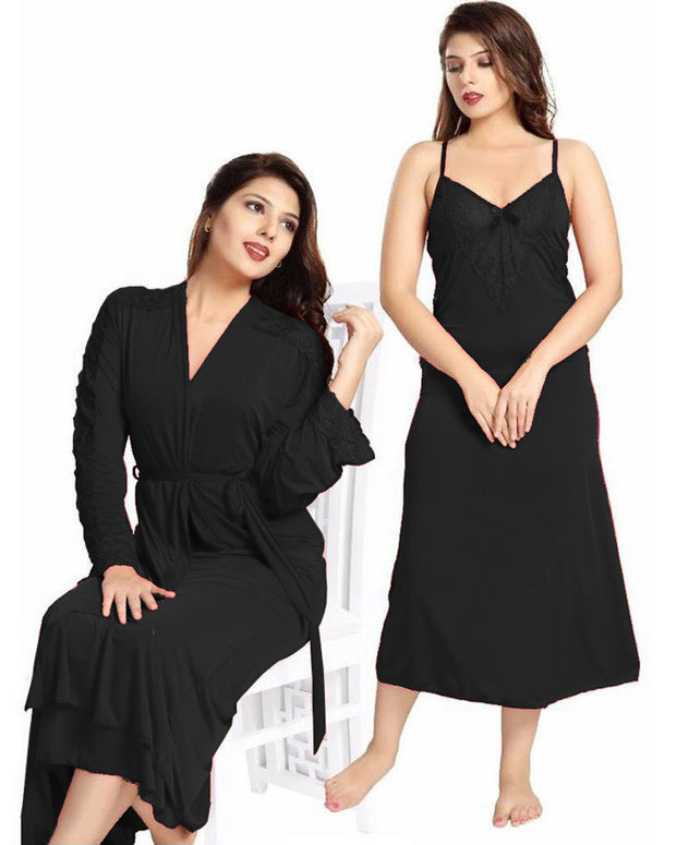 Black Wedding Nighty - FL-0072 - Flourish 2 Piece Nightwear