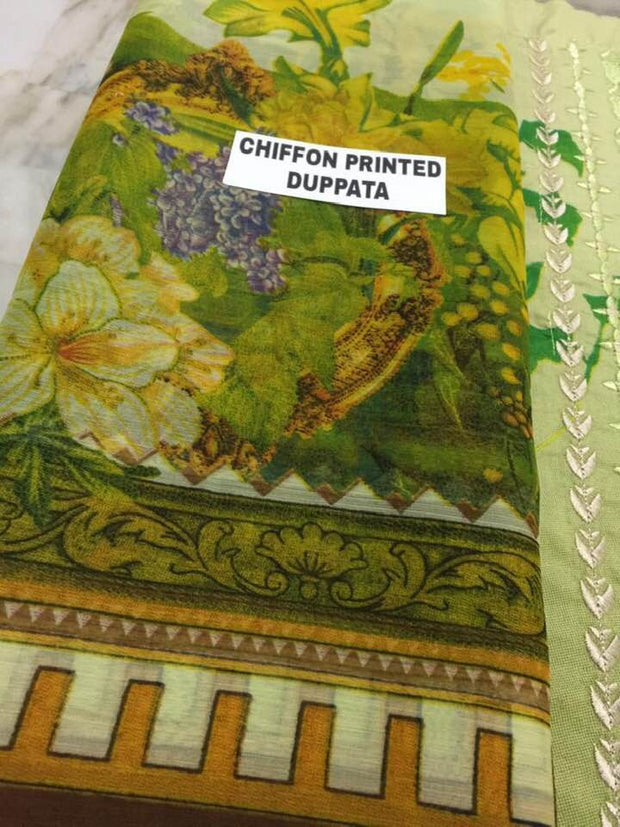 Firdouse Collection Fabric Lawn Dupatta Chiffon Print Trouser Cotton - Replica - Unstitched