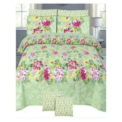 Mint Green Cotton King Size Bedsheet Set - 3pcs