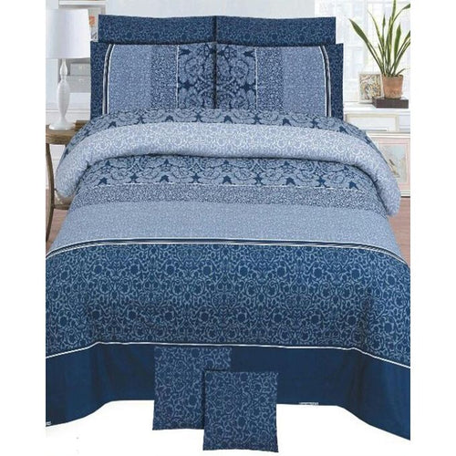 Blue Cotton King Size Bedsheet Set - 3pcs