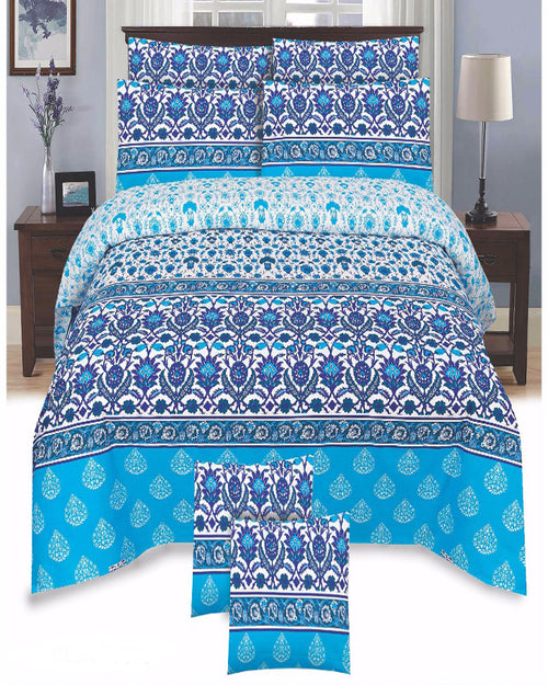 Blue Color Duck Cotton King Size Bedsheet Set - 3pcs