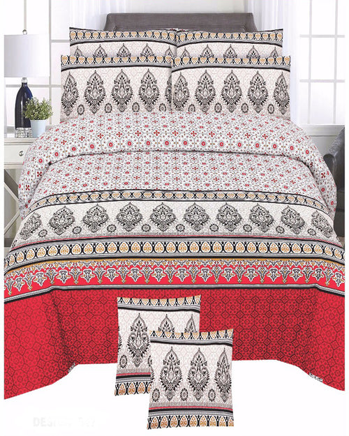Red & White Color Duck Cotton King Size Bedsheet Set - 3pcs