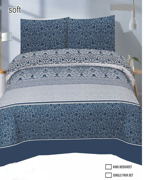 Blue Duck Cotton King Size Bedsheet Set - 3pcs