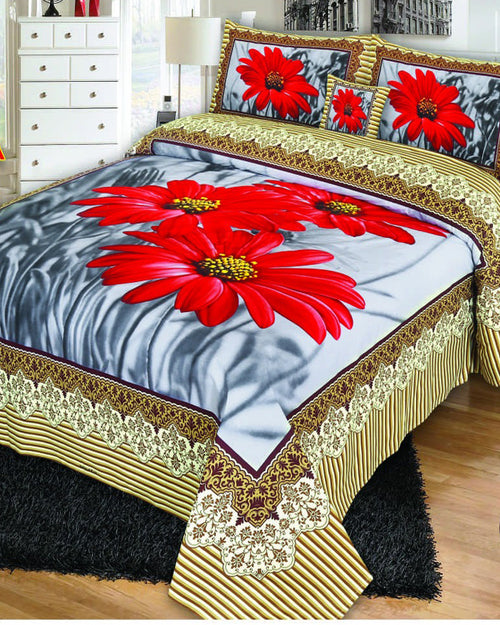 Multicolor Cotton King Size Bed Sheet with 2 Pillows Covers & Cushion