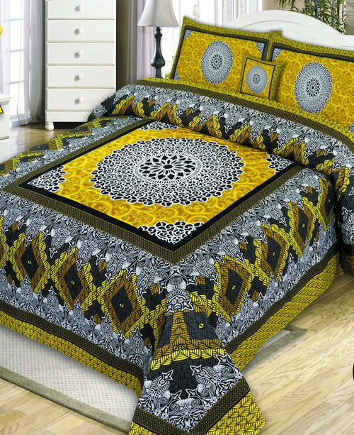 Black & Yellow Cotton King Size Bed Sheet with 2 Pillows Covers & Cushion