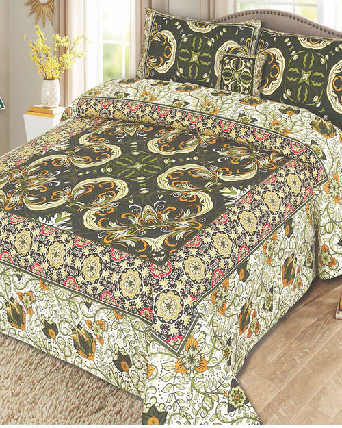 Buy Multicolor Cotton King Size Bed Sheet with 2 Pillows Covers & Cushion Online in Karachi, Lahore, Islamabad, Pakistan, Rs.1399.00, Market Place Online Shopping in Pakistan, Khareedlo, Bedsheets, Khareedlo, lifestyle-bed-sheets, diKHAWA Online Shopping in Pakistan