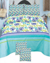 Multicolor Cotton King Size Bedsheet Set - 3pcs