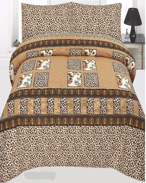 Brown Cotton King Size Bed sheet Set - 3pcs