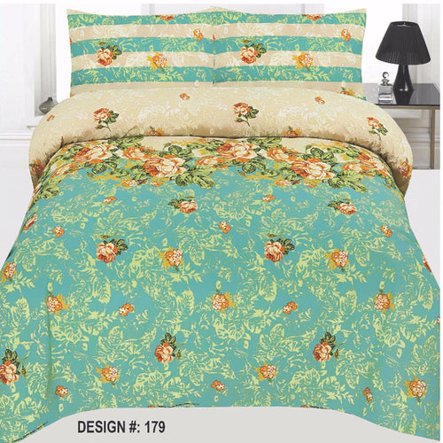 Green Cotton King Size Bed sheet Set - 3pcs