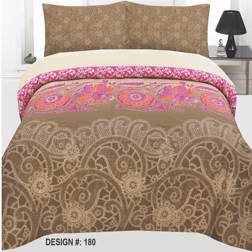 Dark Brown Cotton King Size Bed sheet Set - 3pcs
