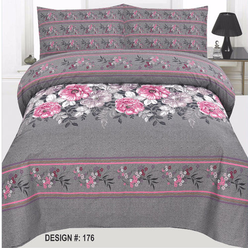 Grey & Pink Cotton King Size Bed sheet Set - 3pcs