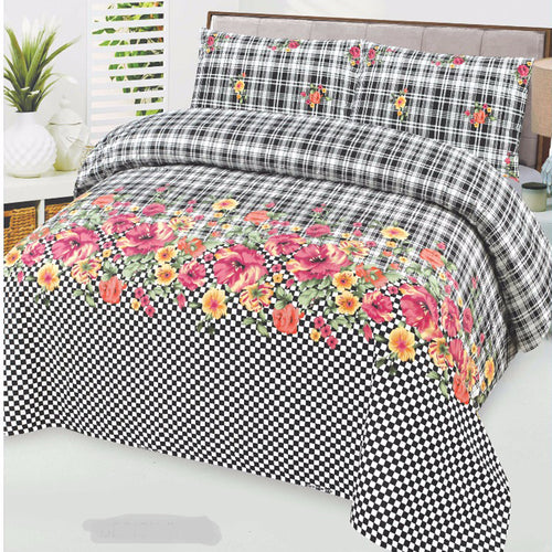 Black & White Cotton King Size Bed sheet Set - 3pcs
