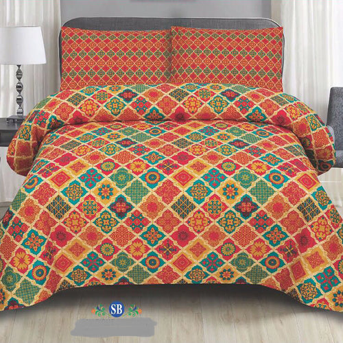 Multicolor Cotton King Size Bed Sheet Set - 3 Pcs