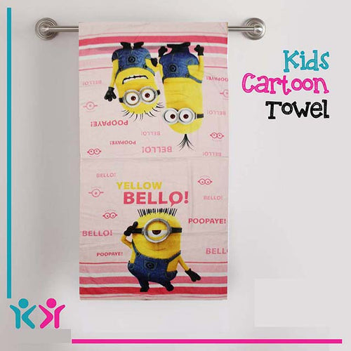 TOWELS - MINION YELLOW BELLOW-  COLOR PINK
