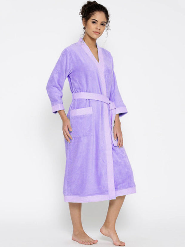 Ladies Bathrobe Soft Cotton - Light Purple