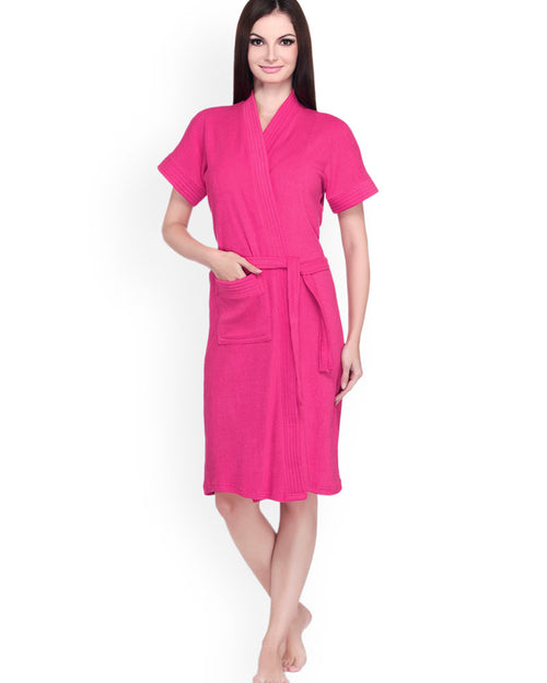 Ladies Bathrobe Soft Cotton - Hot Pink