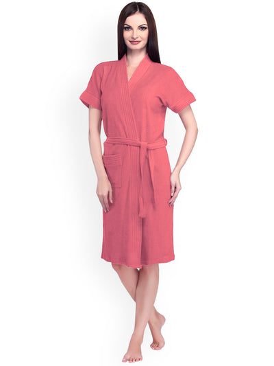 Ladies Bathrobe Soft Cotton - Pink