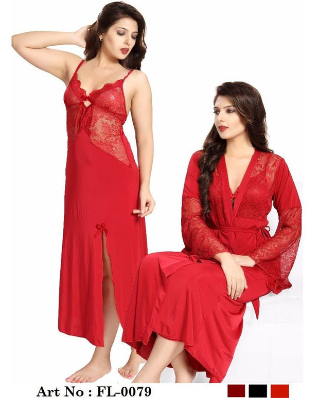 Honeymoon Nighty - FL-0079 Red - Flourish 2 Piece Nightwear