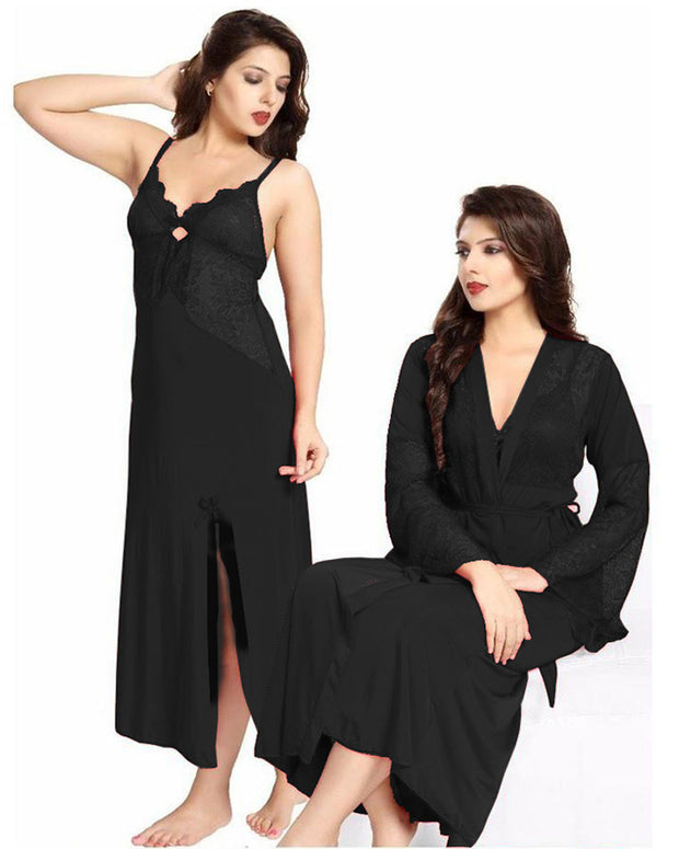 Honeymoon Nighty - FL-0079 Black - Flourish 2 Piece Nightwear
