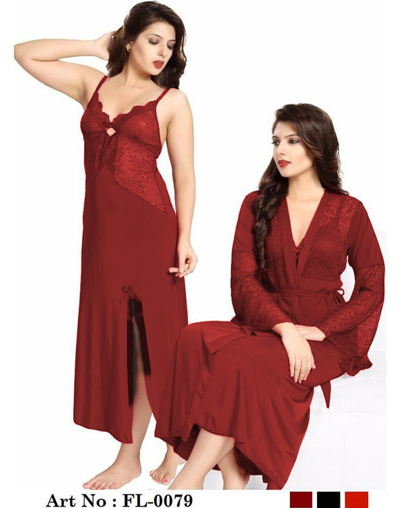 Honeymoon Nighty - FL-0079 Maroon - Flourish 2 Piece Nightwear