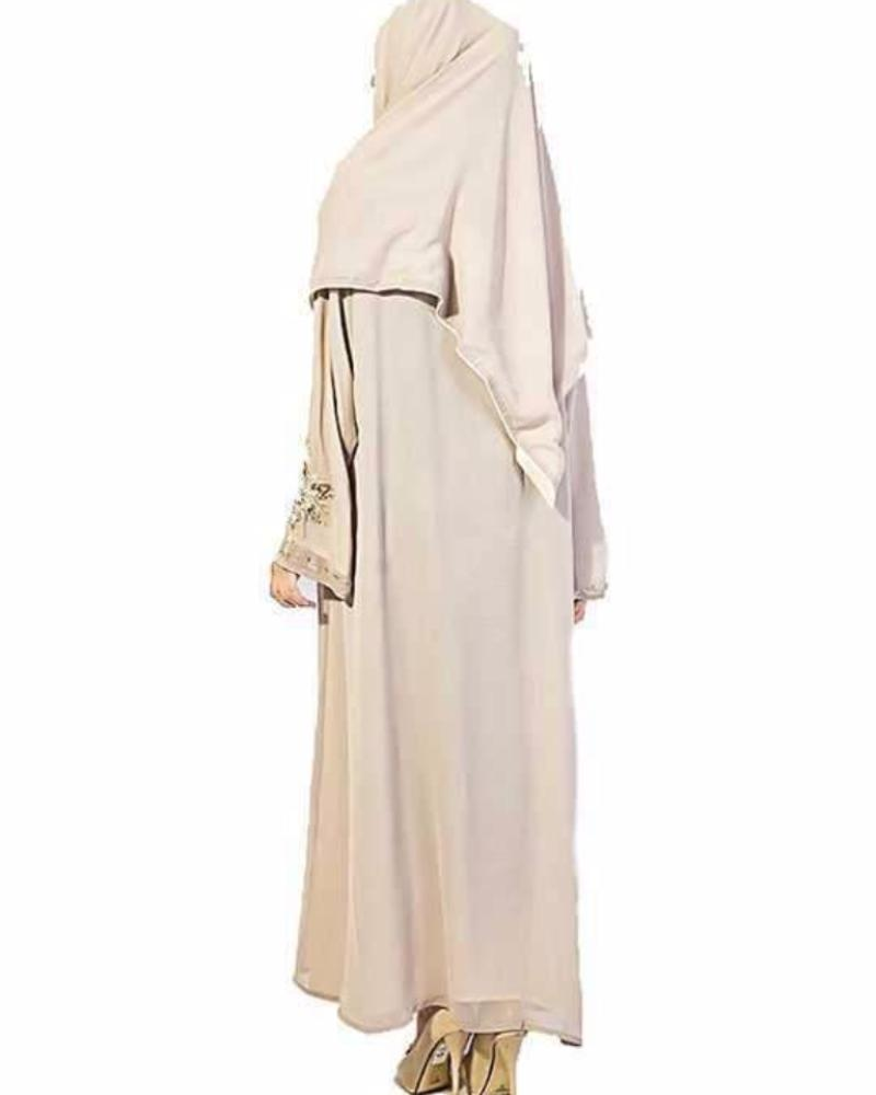 Hijab Ul Hareem - Off White Front Open Abaya - Abaya - diKHAWA Online Shopping in Pakistan