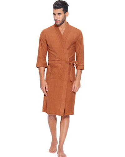 Mens Bathrobe Soft Cotton - Brown