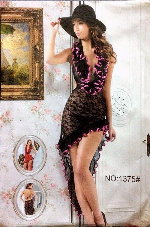 Hot Black Short Net Nighty - MN - 1375 - Nighty - diKHAWA Online Shopping in Pakistan