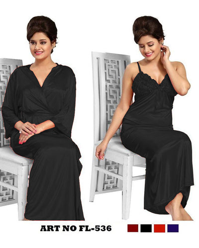 Black Nighty - FL-536 - Flourish 2 Piece Nightwear