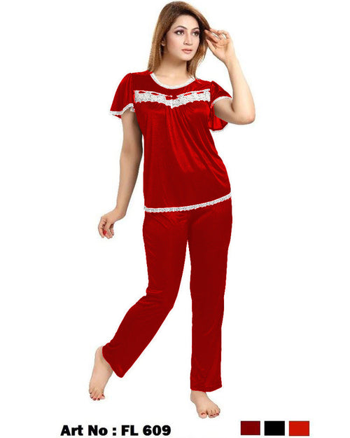 Buy Red Nighty - FL-609 - Flourish 2 Piece Nightwear Online in Karachi, Lahore, Islamabad, Pakistan, Rs.1300.00, Nighty Sets Online Shopping in Pakistan, Flourish, Clothing, Nightdress, Nightwear, Pajamas Sets, Women, diKHAWA Online Shopping in Pakistan