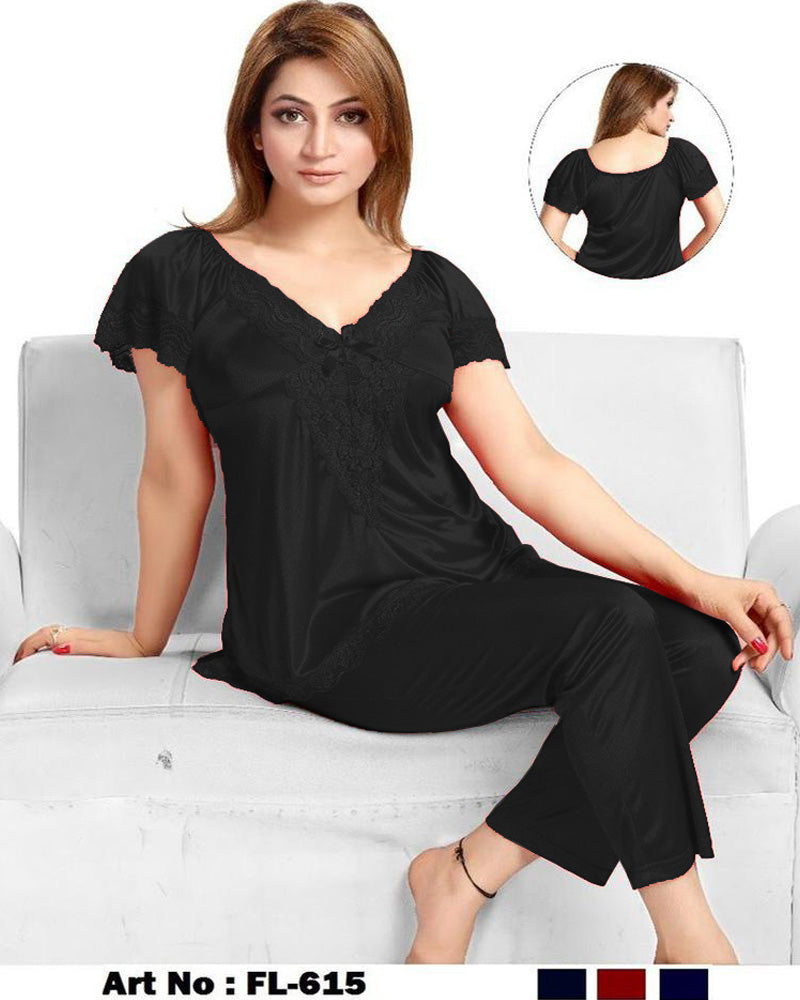 Black Nighty - FL-615 - Flourish 2 Piece Nightwear