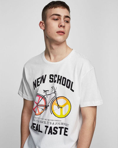 Pull & Bear Branded T-Shirt For Man -White Cycle Print Half Sleeves Casual - Spain Brand