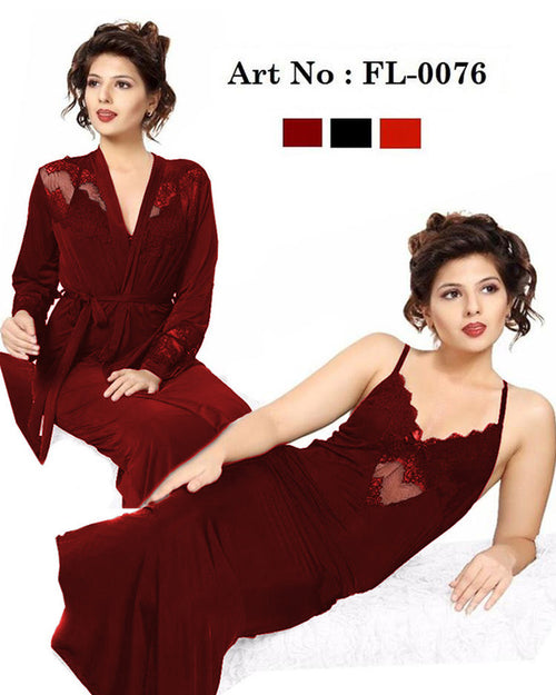 Bridal Net Nighty - FL-0076 - Maroon Flourish 2 Piece Nightwear