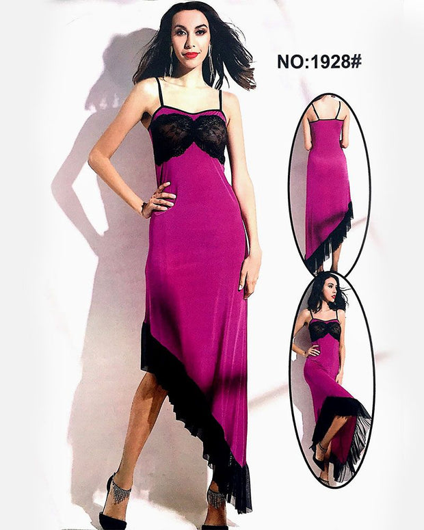 Valentine Hot Purple Long Nighty - 1928 - Nighty - diKHAWA Online Shopping in Pakistan