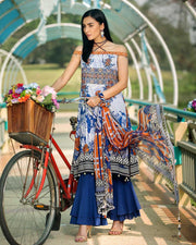 Eden Robe 3 PC Lawn Suit With Chiffon Dupatta (Original)(Unstitched)