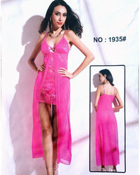 Pink Net Sexy Long Nighty - 1935 - Nighty - diKHAWA Online Shopping in Pakistan