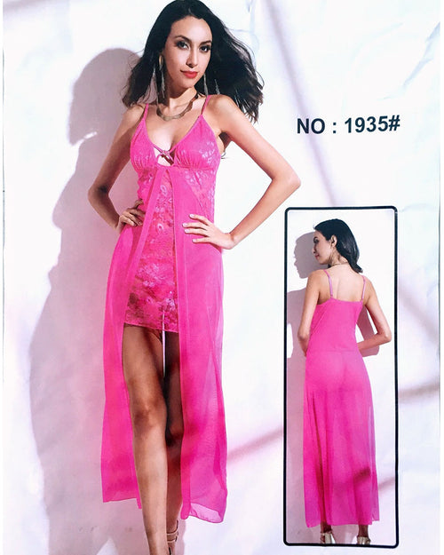 Pink Net Sexy Long Nighty - 1935