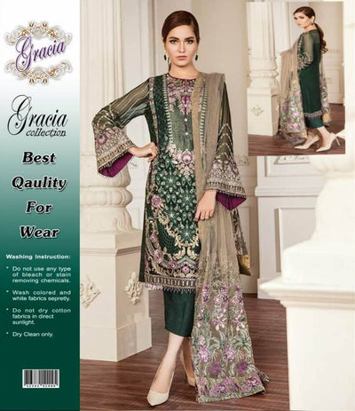 Baroque Collection Fabric Semi Pure Chiffon Dupatta Net Trouser Malai - Replica - Unstitched