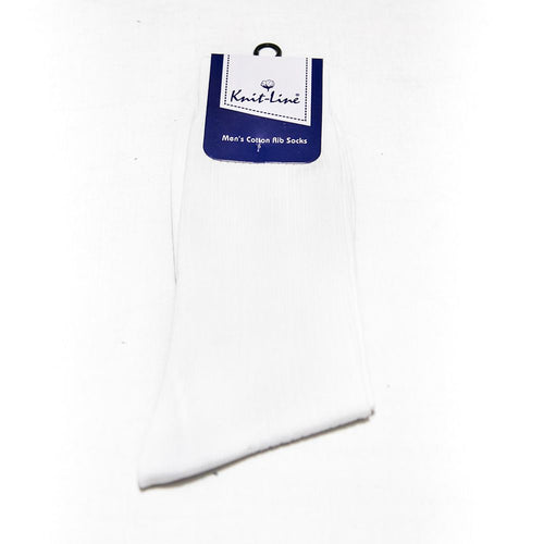 White Men's Cotton Rib Socks - KL-20 - Mens Socks - diKHAWA Online Shopping in Pakistan