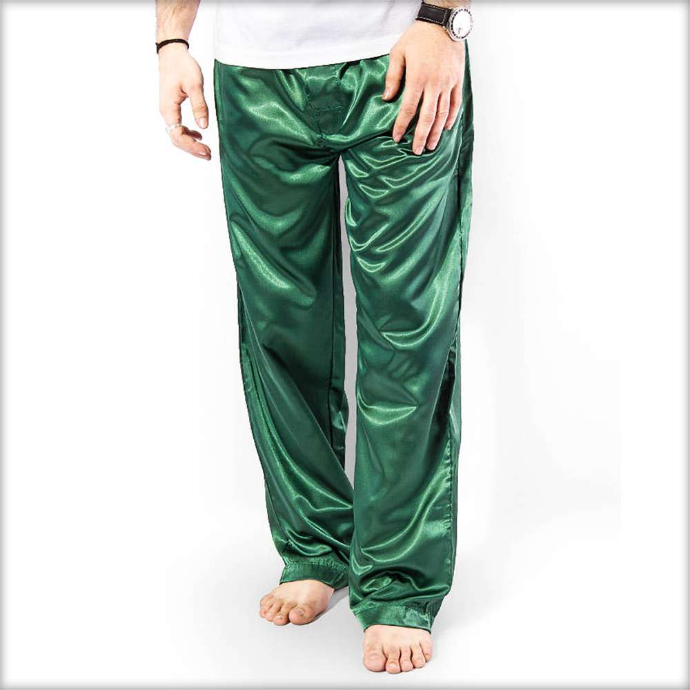 100% Polyester Solid Satin Men's Pajama MP51-GR - Mens Pajama - diKHAWA Online Shopping in Pakistan