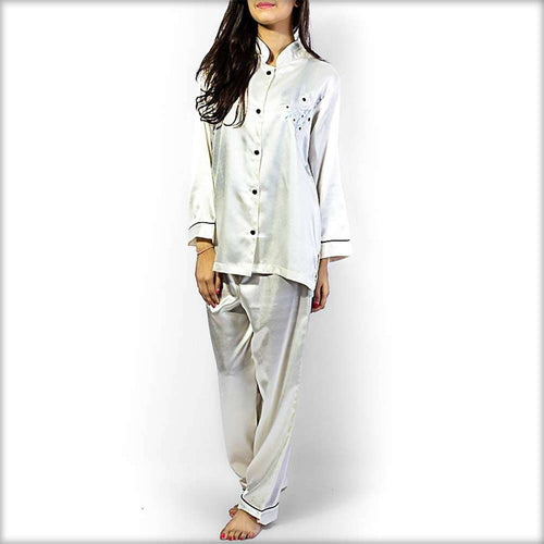 Polyester Solid Satin Night Suit with Embroidery - Ladies Nightdress - diKHAWA Online Shopping in Pakistan