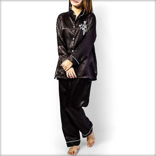 Polyester Solid Satin Embroidered Night Suit - Ladies Nightdress - diKHAWA Online Shopping in Pakistan