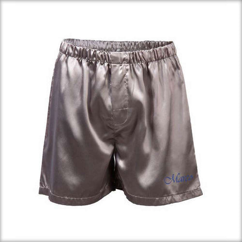 Polyester Solid Satin Men's Boxer MS01-SLV - Mens Shorts - diKHAWA Online Shopping in Pakistan