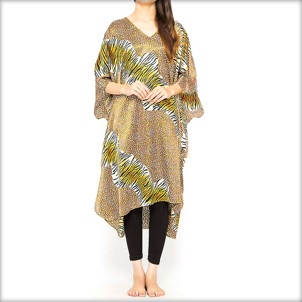Brown Printed Kaftan - Kaftan - diKHAWA Online Shopping in Pakistan